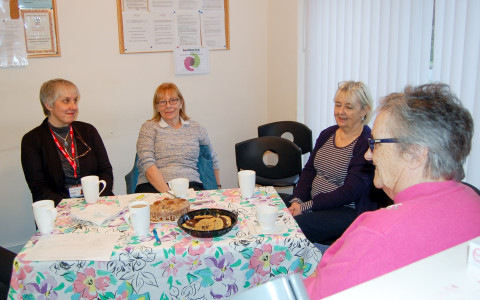 Debbie Doheney, Guidepost Support Worker, attends Carer's Cafe meeting.