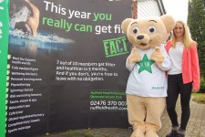Gemma Mills and the Nuffield Health mascot