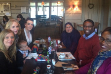 Staff enjoy lunch together at the Whitestone Pub after completing a hectic and exciting start to the new year
