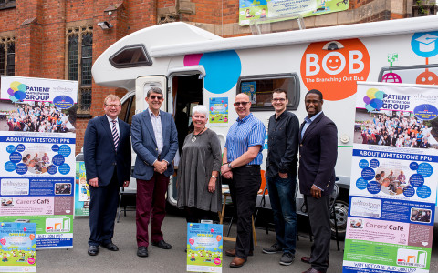 Marcus Jones MP, Cllr Jeff Morgan, WS-PPG Chair Di Kent, VCNW Chair Neale Williams, Silver Surfers Rich Bishop and Dr Sacha Simon
