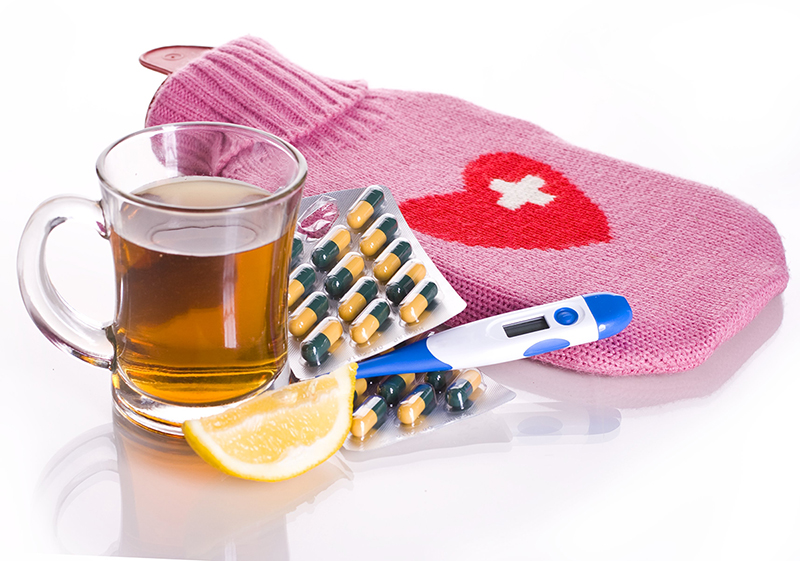 Tea vitamins and hot water bottle
