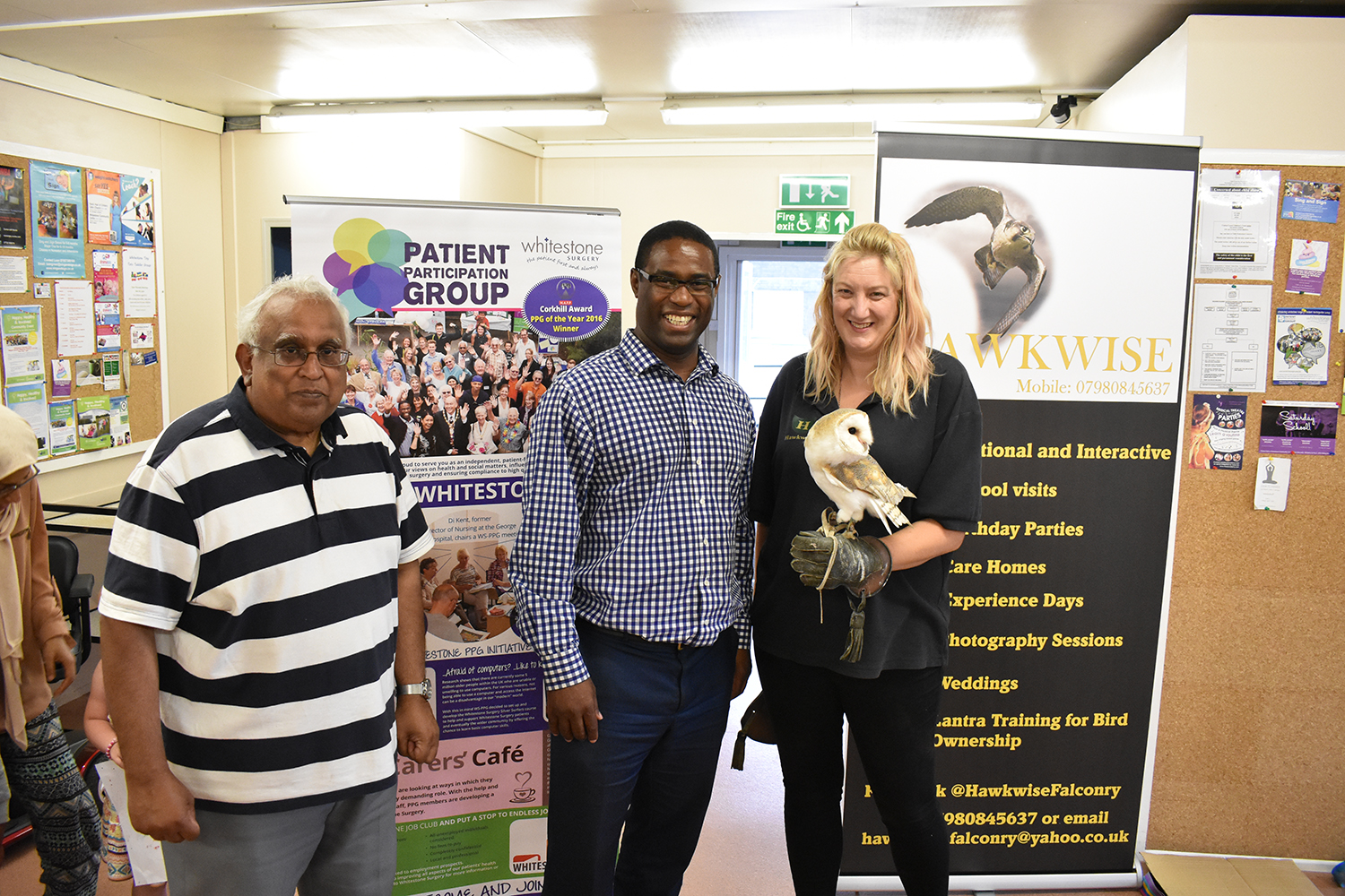 Falconry display at Carer's Cafe meeting