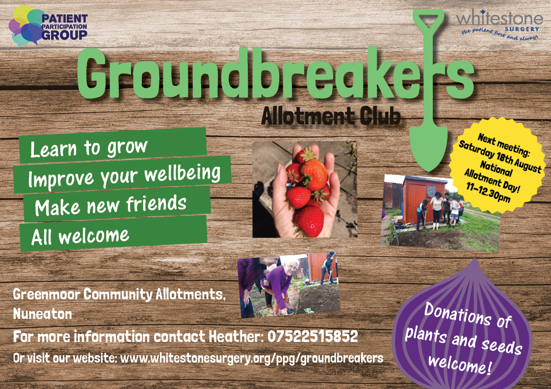Groundbreakers Allotment Club next meeting Saturday 18th August