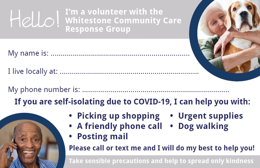 Whitestone Community Care Response Card coronavirus COVID-19